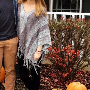 Charlotte Russe Purple Stripe Knit Poncho